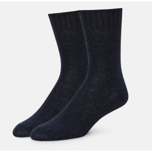 B.ELLA Este Solid Wool and Cashmere Blend Crew Sock | Navy