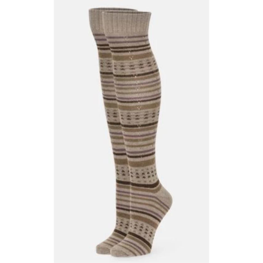 B.ELLA Suzanne Striped Knee High Sock D137 | Oatmeal