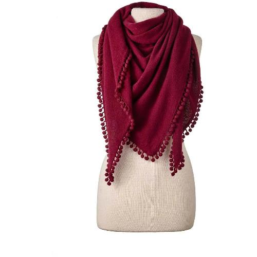 Captiva Cashmere Pom-Pom Triangle Wrap Claret | Shop Cashmere Knit Shawls, Scarves & Wraps