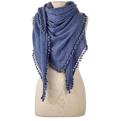 Captiva Cashmere Pom-Pom Triangle Wrap Denim | Cashmere Knit Scarves, Shawls & Wraps