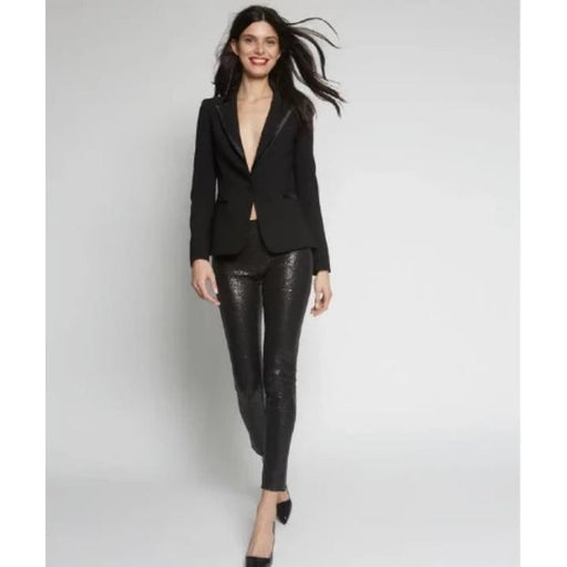 Avenue Montaigne Pull On Skinny Sequin Pants F1441 Black | Buy now and enjoy free domestic shipping on all orders $100 or more.