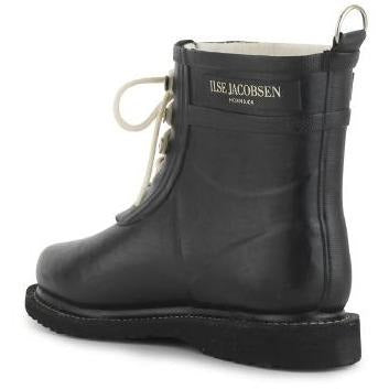Ilse Jacobsen Rub 02 Short Shaft Rubber Lace Up Rain Boot / Black 01
