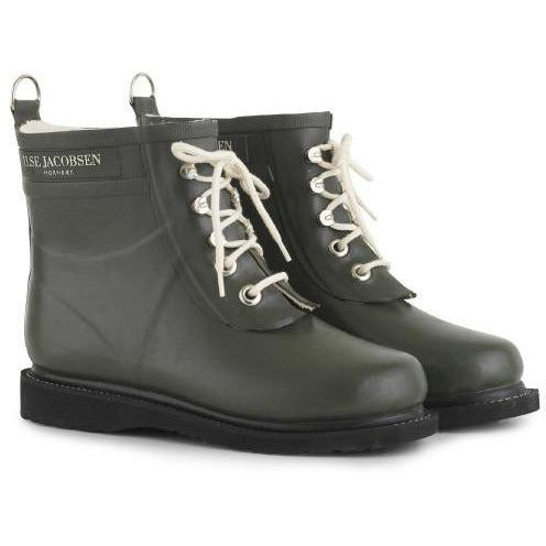 Ilse Jacobsen Rub 02 Short Shaft Rubber Lace Up Rain Boot / Grey 06