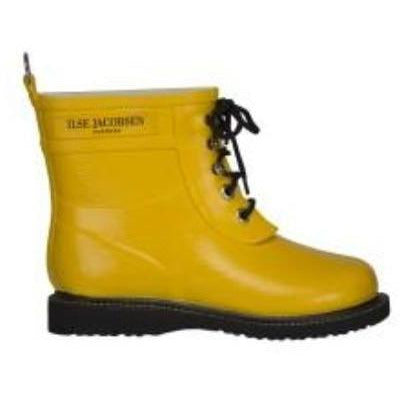 Ilse Jacobsen Rub 02 Short Shaft Rubber Lace Up Rain Boot / Cyber Yellow 808