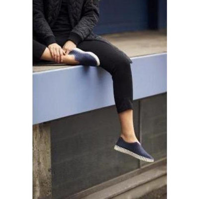 Ilse Jacobsen Hornbæk Tulip Laser Cut Slip On Sneakers Navy 660 Upper/White Bottom | Shop Ilse Jacobsen Hornbæk
