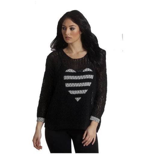 French Kyss Crochet Heart Crew Neck Top F-1509