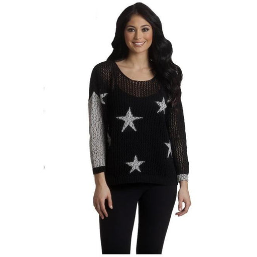 French Kyss Crochet Star Crew Neck Top F-1500