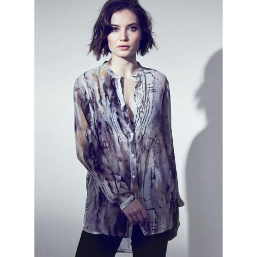 go by Go Silk Go Sheer Shirt Golden Age Print
