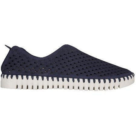 Ilse Jacobsen Hornbæk Tulip 139 Laser Cut Perforated Sneaker Navy  600 | Navy/White Bottom Slip on Sneakers