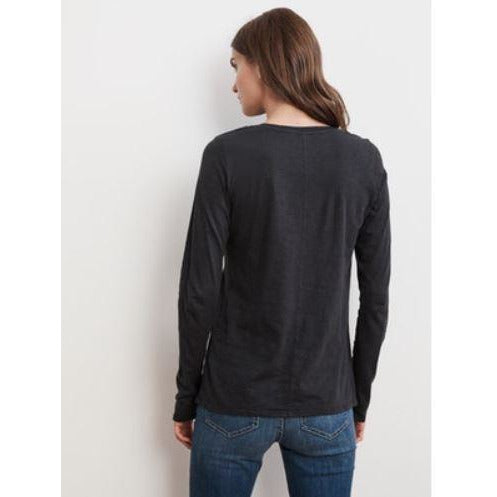 Velvet by Graham & Spencer Tippie Long Sleeve Crew Neck  Tee Black Back View | Shop Velvet by Graham & Spencer Now and Enjoy Free Shipping On All Domestic Orders $100 or more.