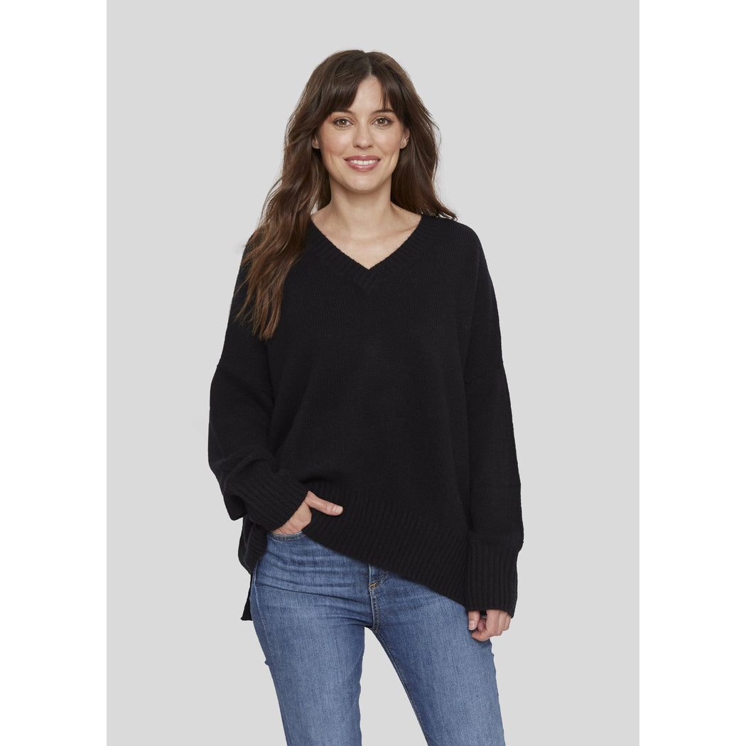 W. Cashmere Oversized Rolled Vee Neck Pull Over Black