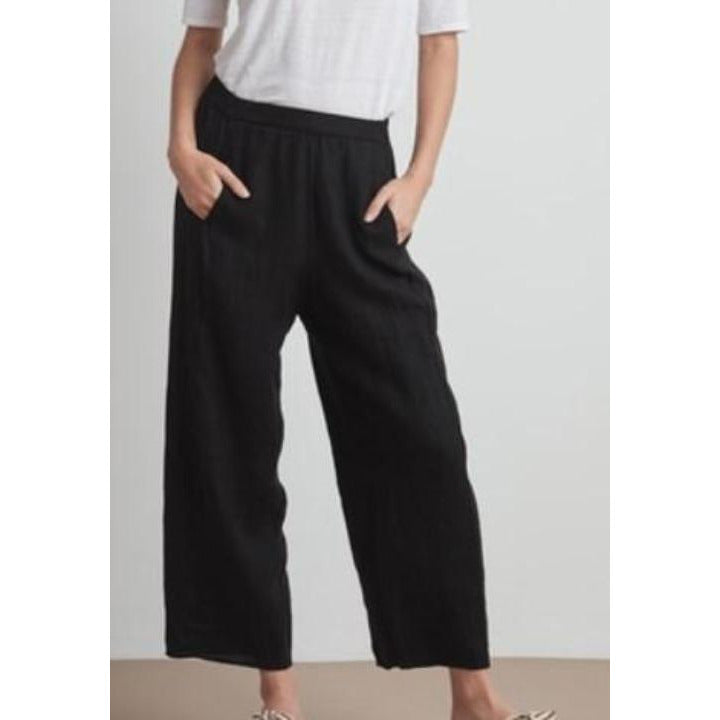 Velvet by Graham & Spencer Zola Linen Elastic Waist Linen Pants Black