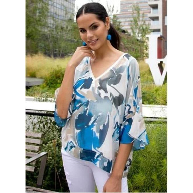 go by Go Silk Go Sheer Romance Blouse T1192 | Rhapsody Blue