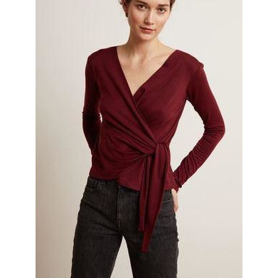 Velvet Janessa 04 Long Sleeve Off Shoulder Top Malbec