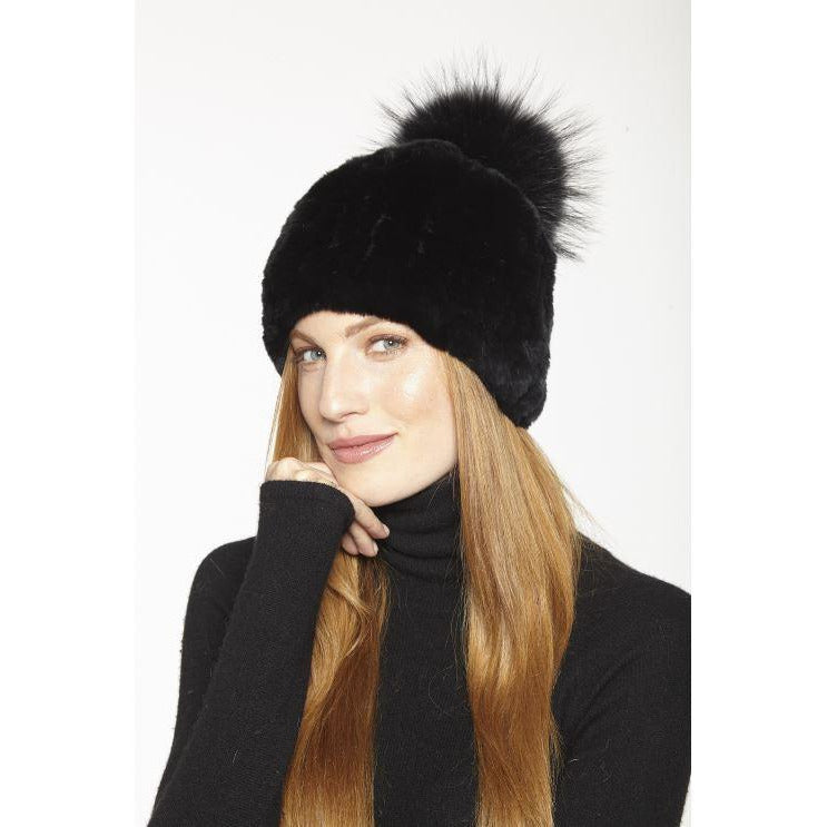 Linda Richards Rex Rabbit Knit Hat With Fox Pom Pom HA57