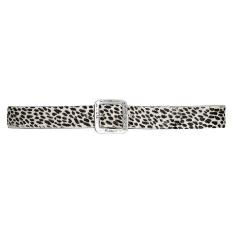 Streets Ahead White Cheetah Hair Calf Belt