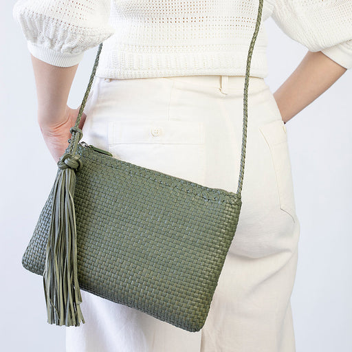 Allan K Pochette Dama Woven Leather Crossbody Bag | Kaki