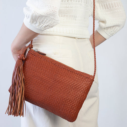 Allan K Pochette Dama Woven Leather Crossbody Bag | Terra