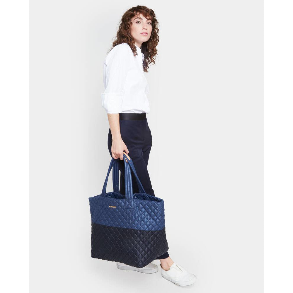 MZ Wallace Quilted Large Metro Tote Black/Navy | Shop MZ Wallace Oxford Collection