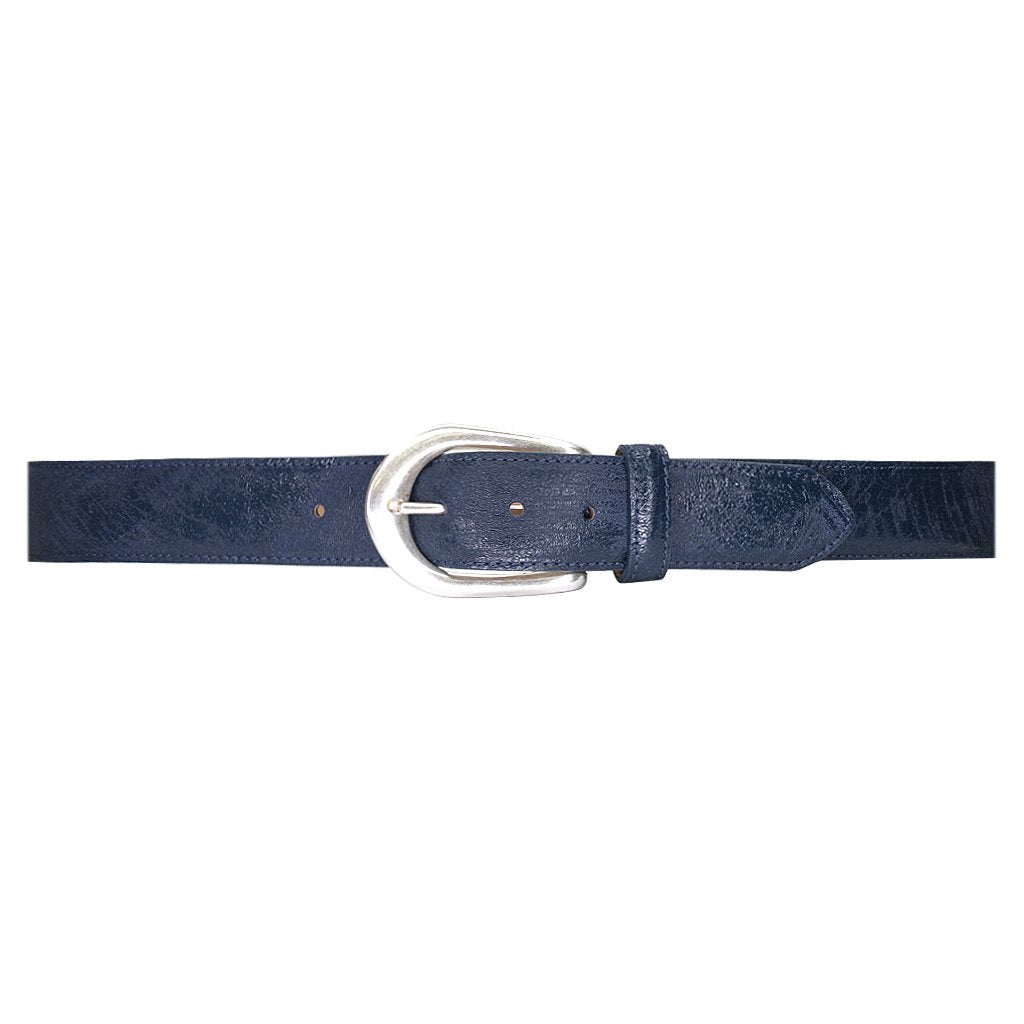 Streets Ahead Eden Leather Belt with Silver Buckle 18208 Navy