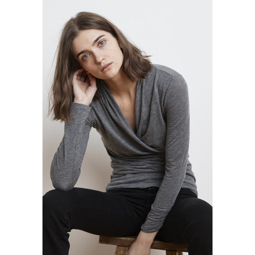 Velvet Meri05 Long Sleeve Wrap Top 2019 Charcoal Grey