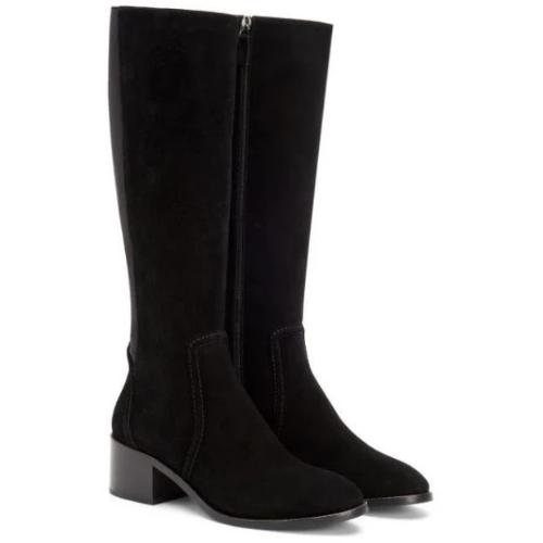 Aquatalia Jordan Tall Shaft Black Suede Boots