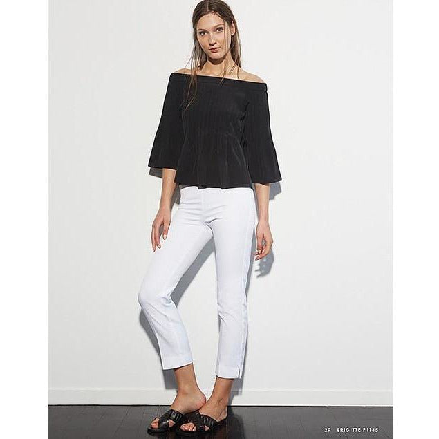 Avenue Montaigne Brigitte Pull On Cropped Pant F1145  White | Clearance Final Sale