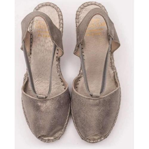 André Assous Dainty Espadrilles | Hand Sewn Wedges Made in Spain Pewter
