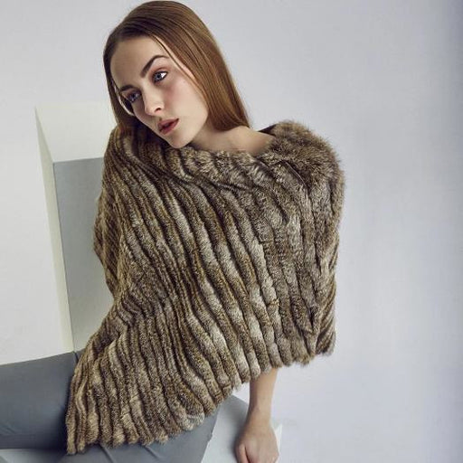 NC Natures Collection Diana Poncho Rabbit Natural Grey | Shop Robertson Madison Fur Accessories Today and Enjoy Fee Domestic Shipping On Orders $100 or more.