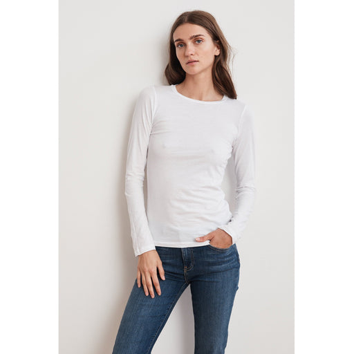 Velvet by Graham & Spencer Zofina Long Sleeve Fitted Gauzy Whispher Crew Neck  Tee White  | Shop Velvet by Graham & Spencer Now and Enjoy Free Shipping On All Domestic Orders $100 or more.