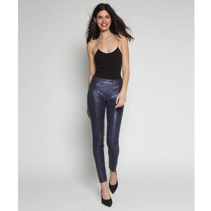 Avenue Montaigne Pull On Skinny Sequin Pants F1441 Navy | Buy now and enjoy free domestic shipping on all orders $100 or more.