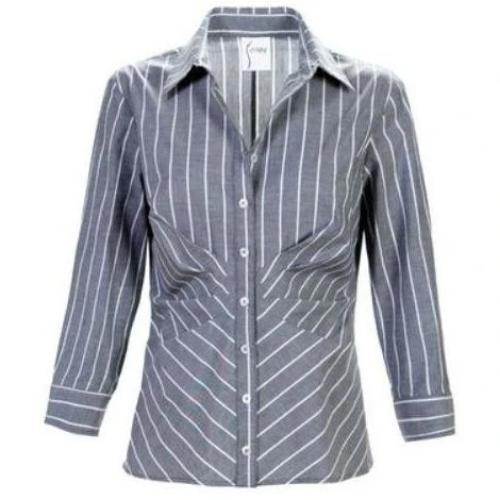 Finley Shirts Cleo Tucked Shirt Bold Pin Stripe 2943059S | Clearance Final Sale | No Returns
