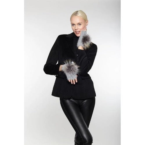 Linda Richards Pom Pom Hand Warmers HW62 Dove Grey | Shop luxurious genuine fur trim accessories now |  Enjoy free shipping on all orders $100 or more.