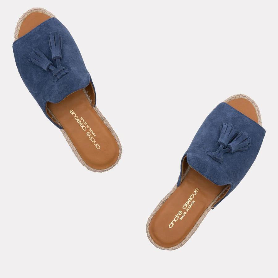 André Assous Cameron Espadrilles Slides | Hand Sewn Made in Spain Blue Suede