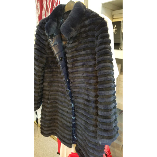 Linda Richards Reversible Rex Rabbit Long Puffer Jacket 9913