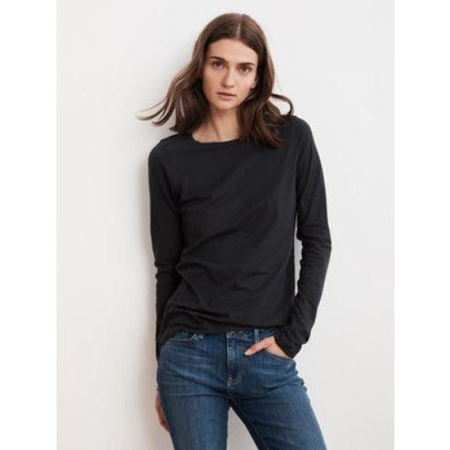 Velvet by Graham & Spencer Tippie Long Sleeve Crew Neck  Tee Black | Shop Velvet by Graham & Spencer Now and Enjoy Free Shipping On All Domestic Orders $100 or more.