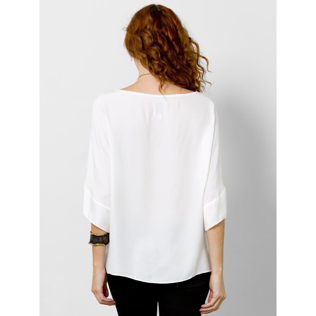 go by Go Silk Easy Does It Top T1127 White | Washed 100% Silk Reverse Charmeuse | Shop now and enjoy free domestic shipping on all orders $100 or more.
