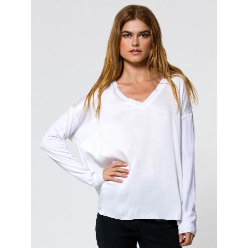 Go By Go Silk Go Vee Tee Top T820 White } Shop Washable Silk Now