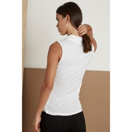 Velvet Adelise Gauzy Whisper Fitted Wrap Tank White | Velvet by Graham & Spencer