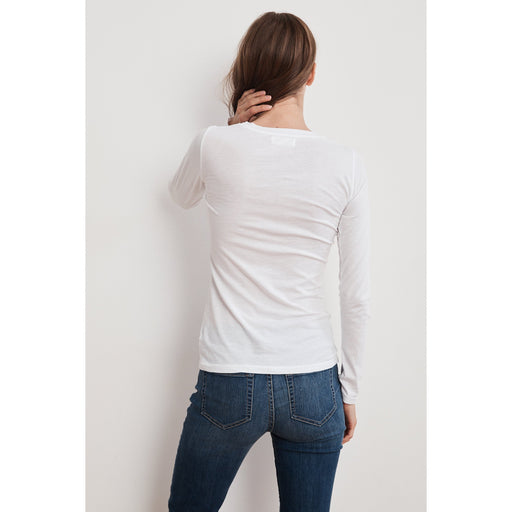 Velvet by Graham & Spencer Zofina Long Sleeve Fitted Gauzy Whispher Crew Neck  Tee Back View White  | Shop Velvet by Graham & Spencer Now and Enjoy Free Shipping On All Domestic Orders $100 or more.
