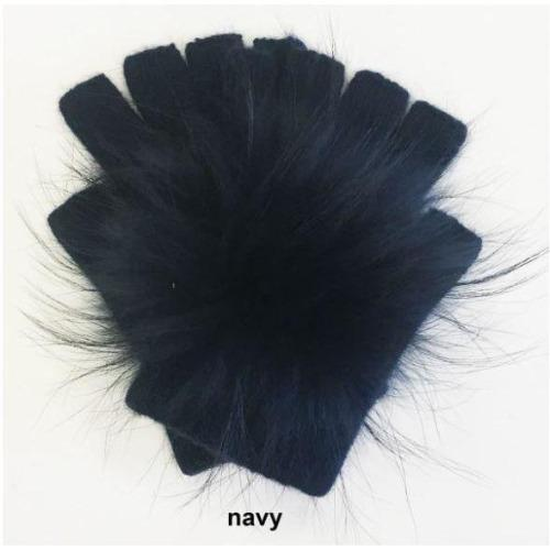 Linda Richards Pom Pom Hand Warmers HW62 Navy | Shop luxurious genuine fur trim accessories now |  Enjoy free shipping on all orders $100 or more.