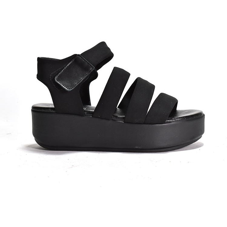 Cordani Jillian Platform Strap Sandal Black Stretch