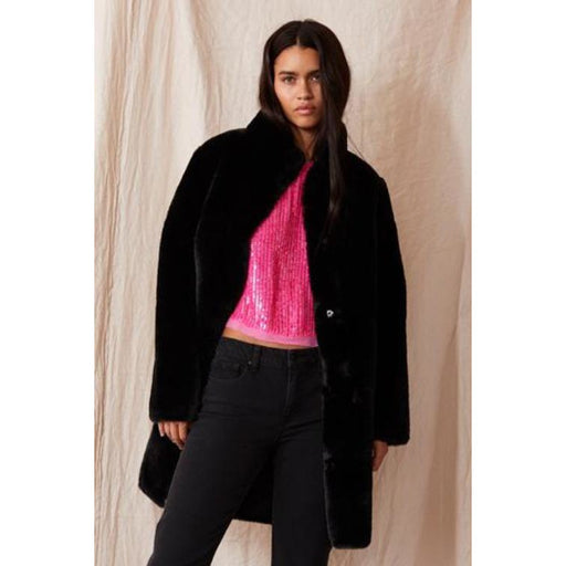 Velvet by Graham & Spencer Mina Reversible Faux Fur Mock Neck Coat | Black