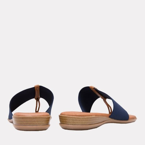 André Assous Nice Navy Elastic Flip Flop Wedges | Shop Wedges Made in Spain
