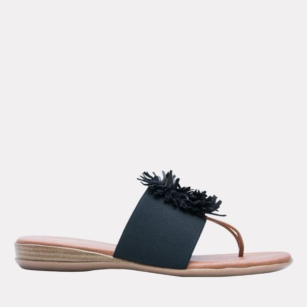 André Assous Novalee Elastic Upper Flip Flops  | Cushion wedge in Spain Platform Black Elastic Upper