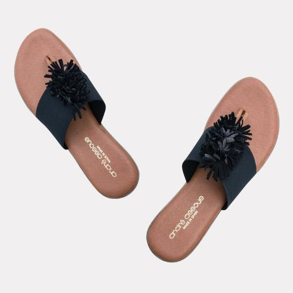 André Assous Novalee Elastic Upper Flip Flops  | Cushion wedge made in Spain Thong Black Elastic