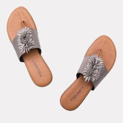 André Assous Novalee Elastic Upper Flip Flops  | Cushion wedge made in Spain Pewter Elastic