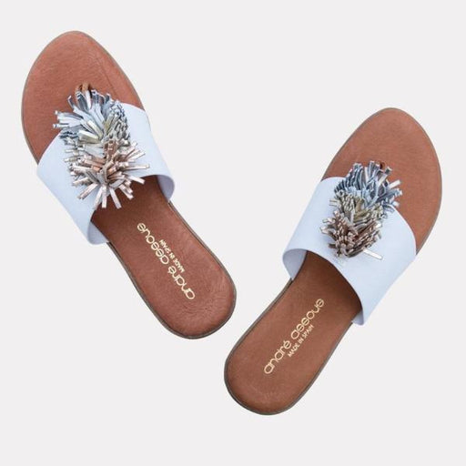 André Assous Novalee Elastic Upper Sandal With Pom Pom   | Cushion wedge made in Spain elastic upper White/Metal