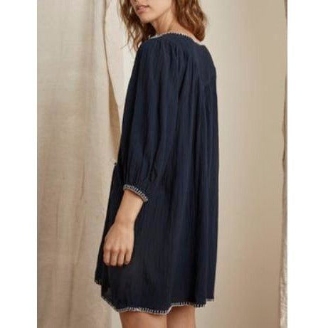 Velvet Trista Blanket Stitch Long Puff Sleeve Dress | Velvet by Graham & Spencer