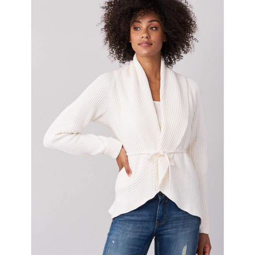 REPEAT Cashmere Cotton Open Shawl Cardigan with Belt 400304 | White